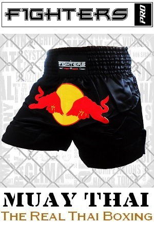 FIGHTERS - Muay Thai Shorts / Red Bull / Schwarz / XL