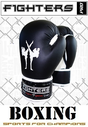 FIGHTERS - Boxing Gloves for Kids / Attack / 6 oz / Black
