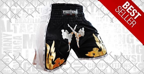 FIGHTERS - Thaibox Shorts / Elite Fighters / Schwarz-Weiss